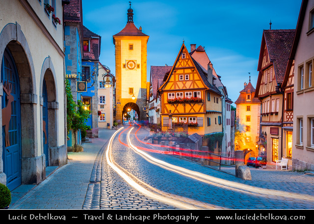 Germany - Bavaria - Rothenburg ob der Tauber at Dusk - Twilight - Blue Hour - Night