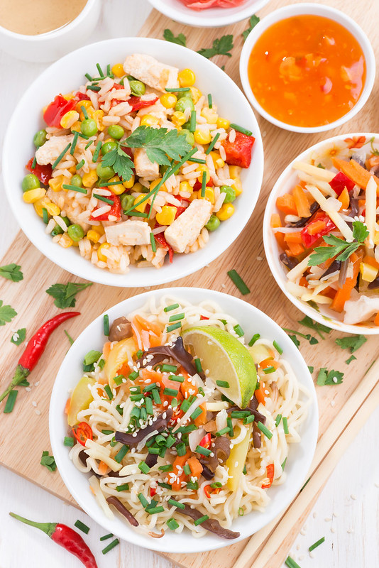 rice noodles and fried rice with vegetables