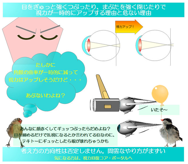 簡単図解シリーズ08|目をぎゅっと強くつぶったり、まぶたを強く閉じたりで視力が一時的にアップする理由と危ない理由(視力回復トレーニングや眼精疲労改善で大抵入ってるけど・・・)