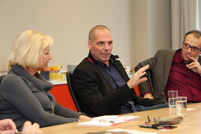 Dagmar Enkelmann, Yanis Varoufakis, Florian Weis from Flickr via Wylio