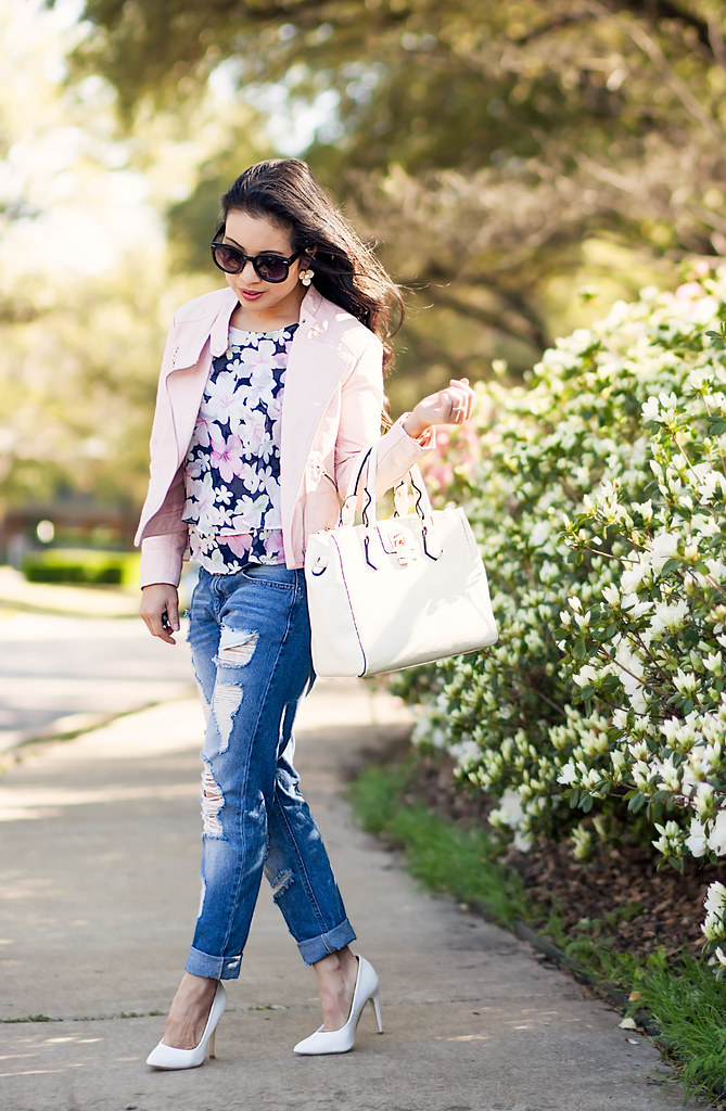 cute & little blog | petite fashion | pink blush moto jacket, floral tiered blouse, akira distressed jeans, white pumps | spring outfit