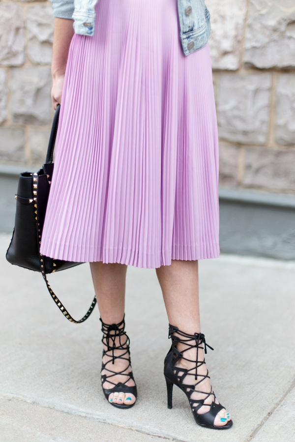 Joie Lace-Up Sandals + J Crew Pleated Midi Skirt