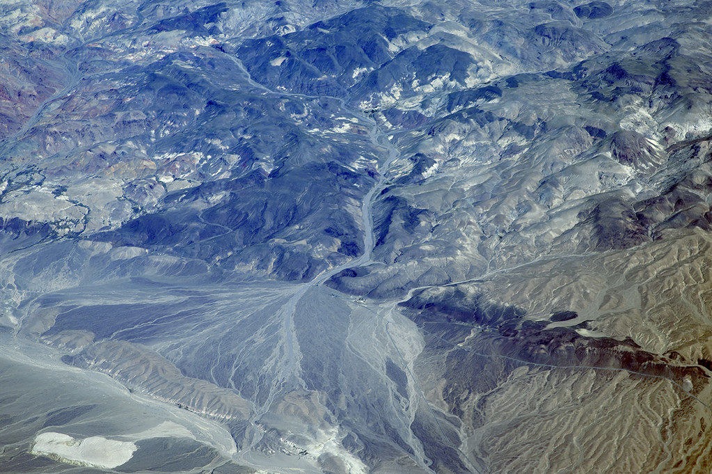 Aerial view of the Northern Death Valley Fault Zone, Death Valley, Inyo County, California