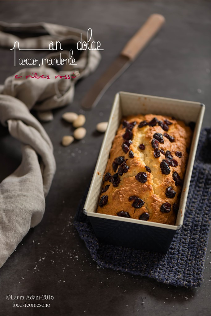 Sweet coconut and almond bread with red currant
