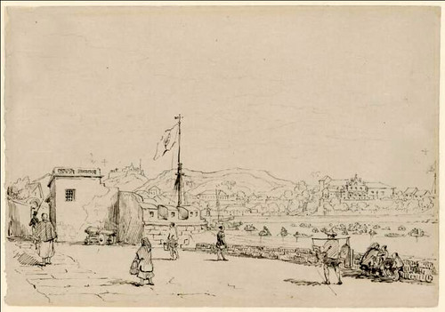 The redoubt of St. Peter, Praia Grande, Macao. 1830. George Chinnery