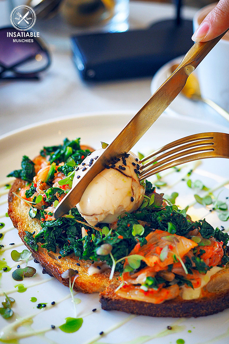 Tea marbled egg (topped toast) with kimchi, kale and black sesame, $16: The Rabbit Hole Organic Tea Bar, Redfern. Sydney Food Blog Review
