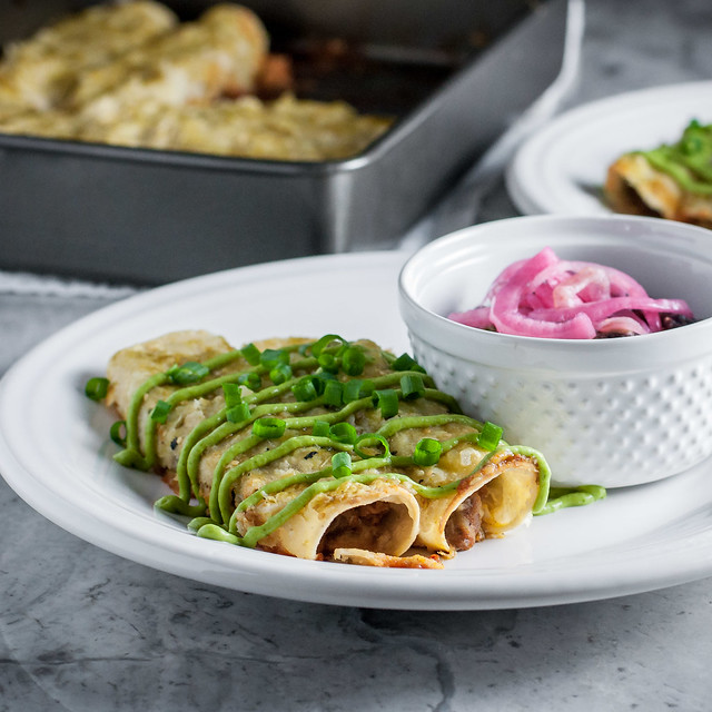 Pulled BBQ eggplant makes for super satisfying, tasty meatless BBQ enchiladas! No one will miss the meat in this crowd-pleasing Tex-Mex dinner.
