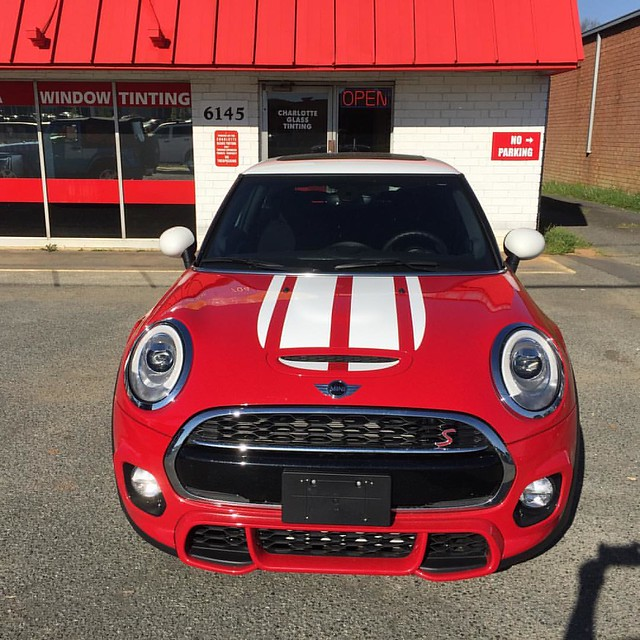 New Red Mini Cooper with 3M 1080 series white Cooperworks bonnet stripes