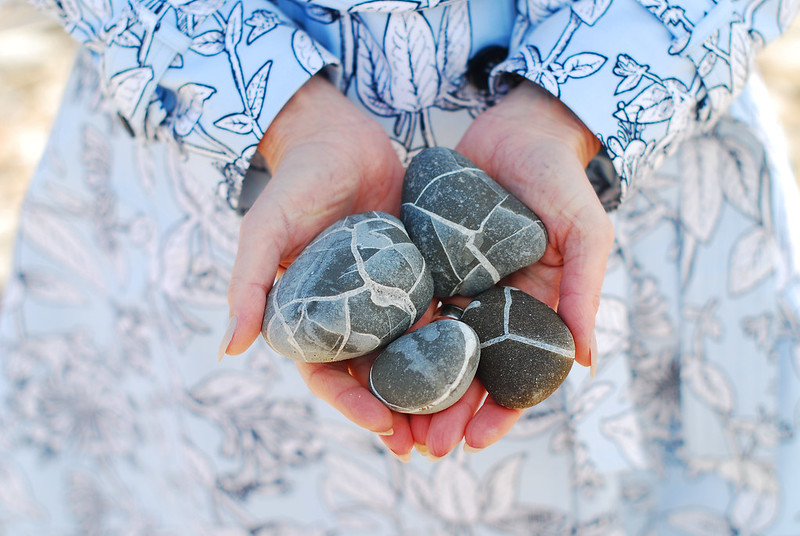 Spring style: Blue floral honeysuckle trench coat, marbled beach stones | Not Dressed As Lamb
