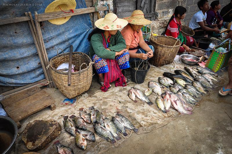 Fish Sellers, Nampan Market, Inle Lake, Myanmar