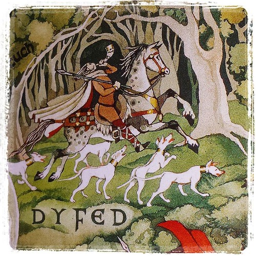 Detail from my Mabinogion poster: King Arawn hunting. His hunting hounds are greyhounds! #squeee #greyhound #mabinogion #poster