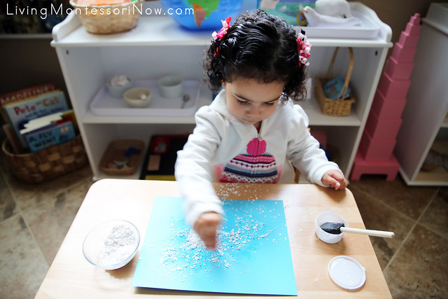 Sprinkling Eggshell Snow on the Glue