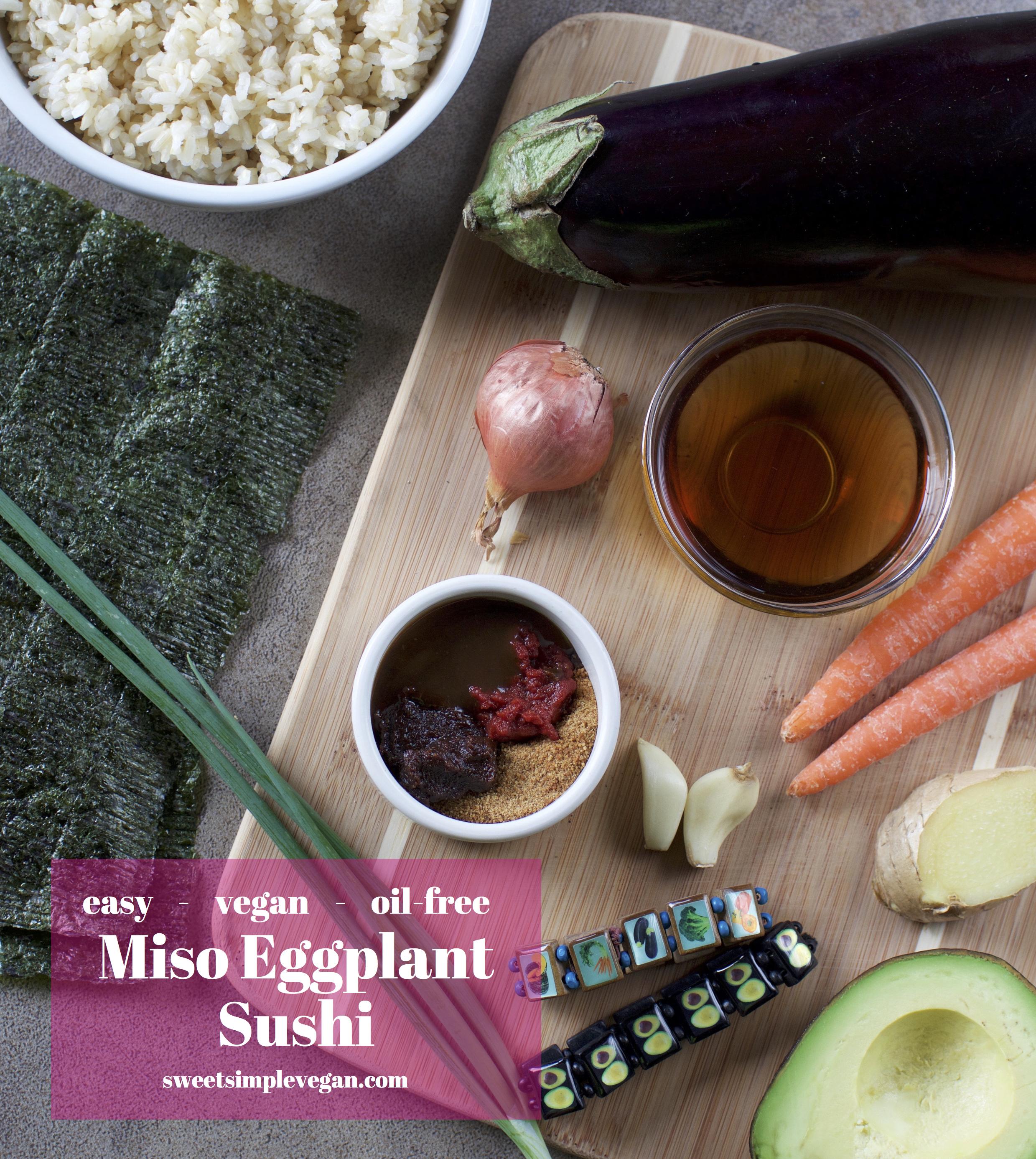 Vegan Miso Eggplant Sushi {easy, oil-free} sweetsimplevegan.com
