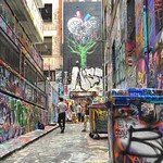 Tree hearts and dumpsters as art. Rutledge Lane rubbish bins. Digging the visual cacophony of the Melbourne lane ways.