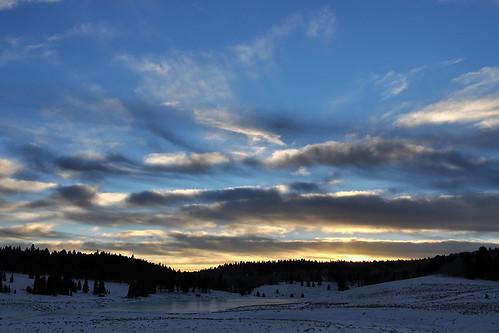 travel sunset sky usa cloud snow newmexico water clouds creek landscape pond skies wintersunset outdoor dusk bluesky roadtrip blueskies redsky cloudysky purplesky winterscene frozencreek redskies rioarriba onlythebestofnature