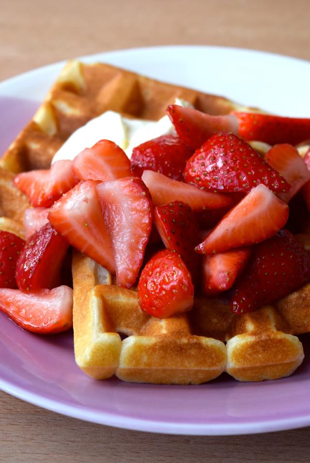 Buttermilk Waffles with Strawberries & Creme Fraiche   www.rachelphipps.com @rachelphipps