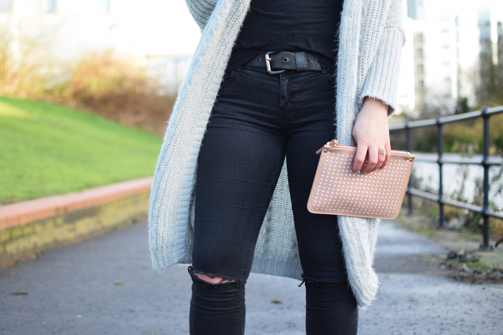 ripped denim and longline cardigan