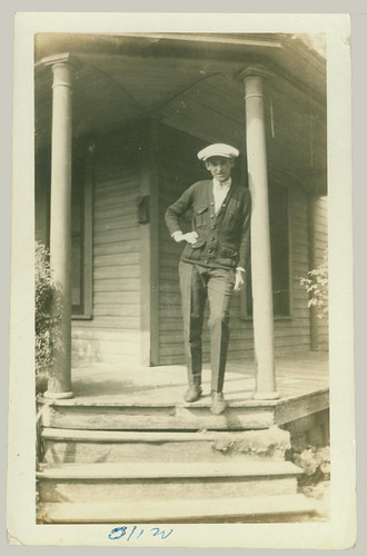 Young man on porch