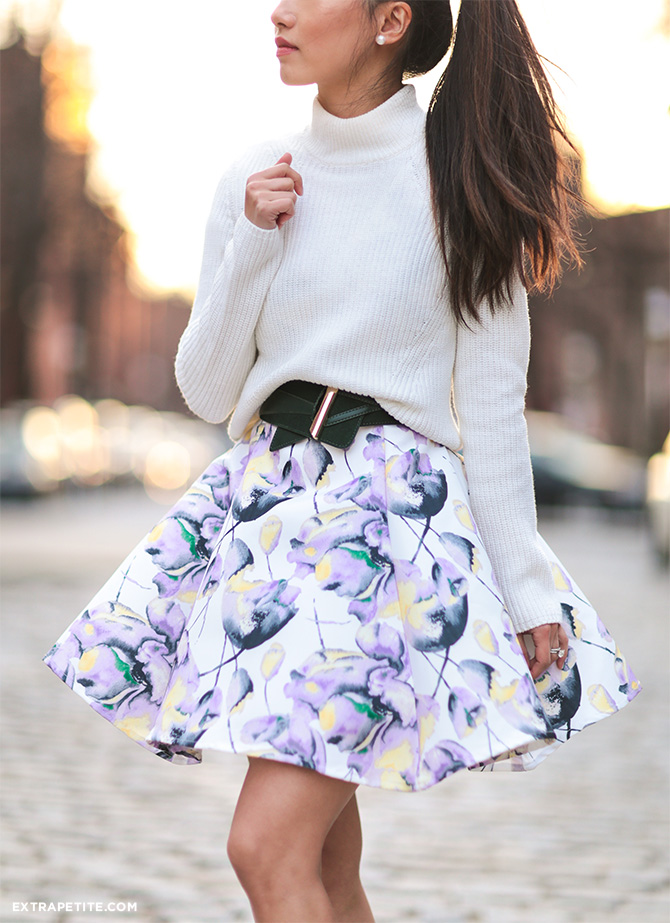 floral dress as skirt asos macys petite spring outfit