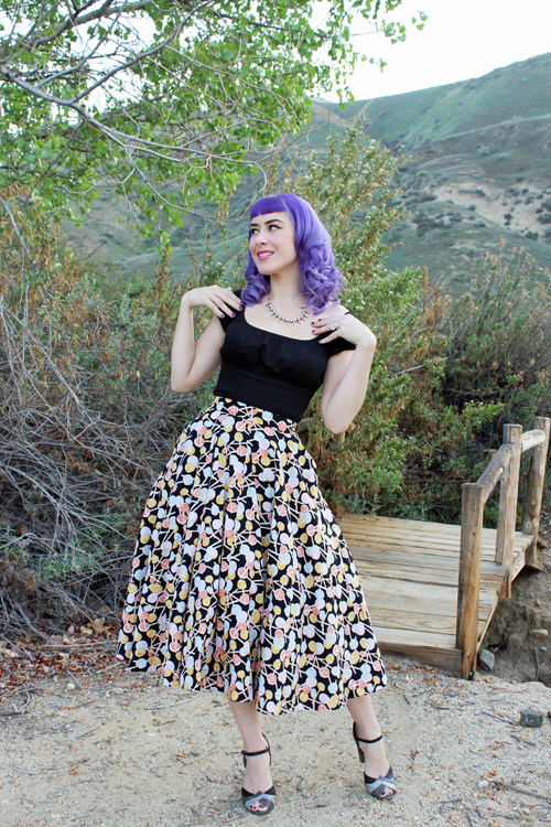 Emily and Fin Sandy Skirt in Swirling Lollipop Pinup Couture Peasant Top in Black
