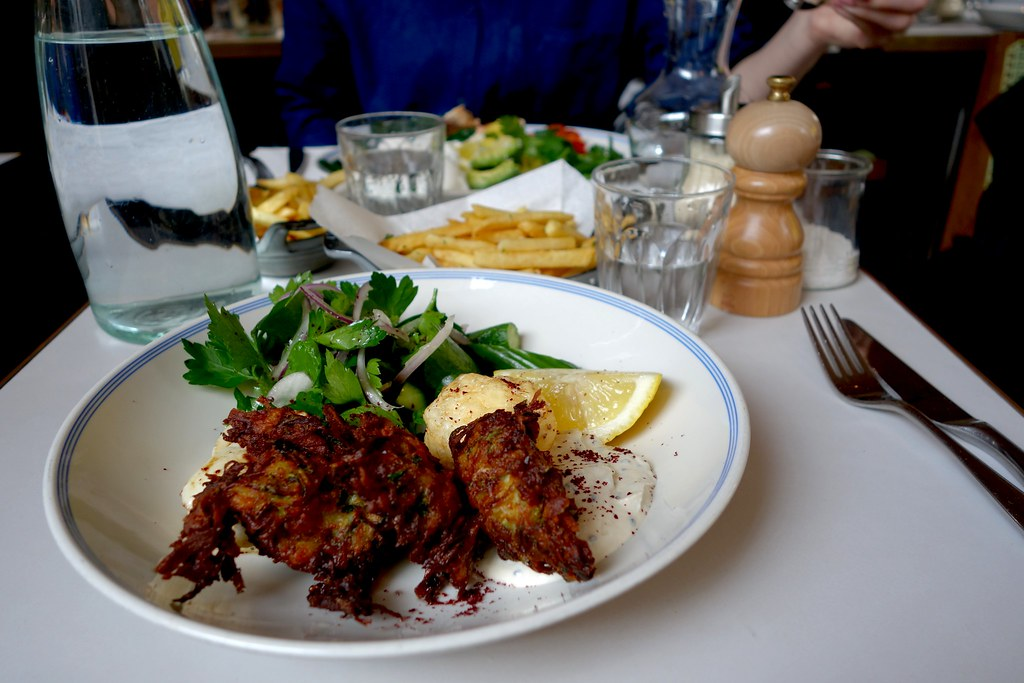 Courgette Fritters, Fried Halloumi, Siyez & Shredded Kale Salad, Granger & Co, Notting Hill