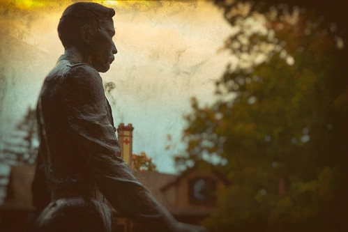 sunset college statue museum lawrence joshua maine brunswick governor gettysburg civilwar veteran colonel chamberlain bowdoin brigadiergeneral congressionalmedalofhonor unionarmy brevetmajorgeneral