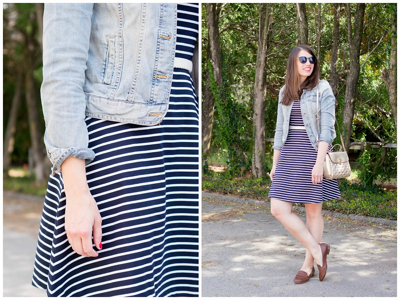navy stripe dress + light denim jacket + gold crossbody purse | Style On Target