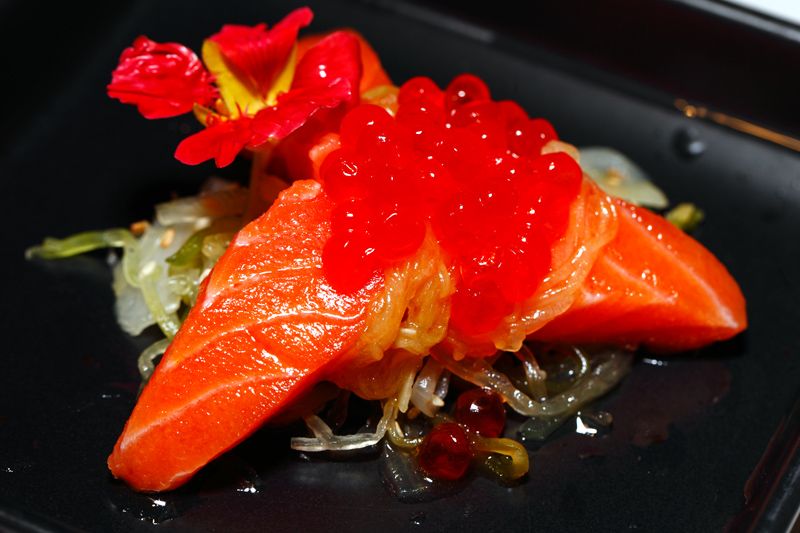 Charcoal Smoked Salmon Soy Ikura Melon Salad