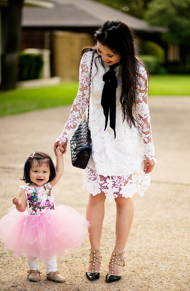 cute & little blog | toddler girl pink floral tutu dress, freshly picked mocassins, white crochet lace dress, bow scarf, studded pumps | mommy daughter | spring outfit