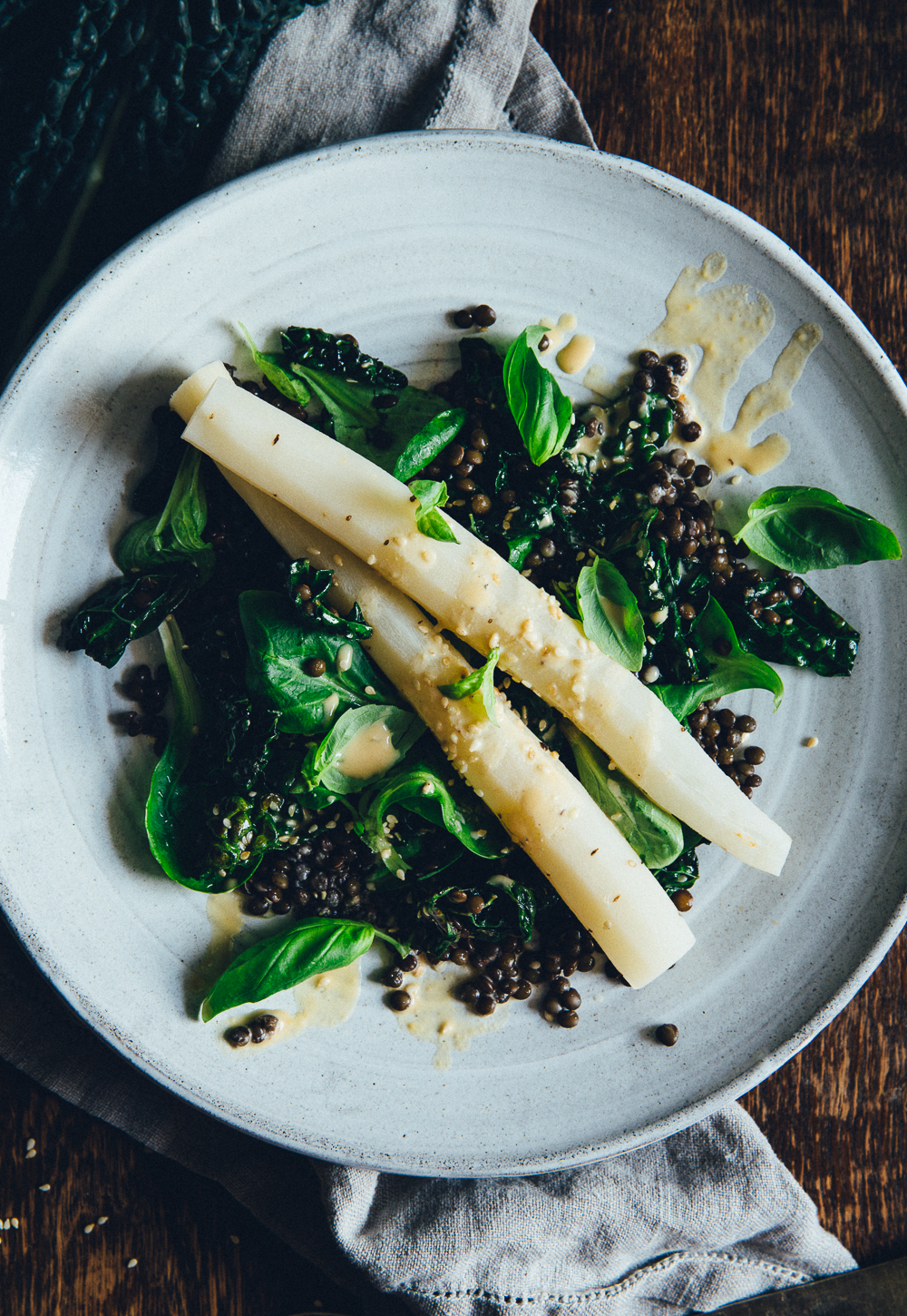 Black Salsify Roots with Beluga Lentils, Sesame Kale & Miso Dressing | Cashew Kitchen