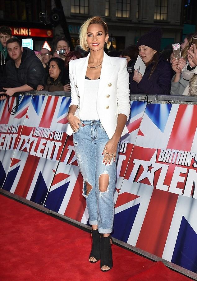 Balmain-white-blazer-black-lace-bra-tank-top-ripped-loose-fit-jeans-Tom-ford-peep-toe-ankle-heels