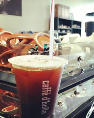 The sun is out. Time for an iced americano. We have a NEW ESPRESSO On Tap today, too! #espresso #caffedbolla #americano #kvdw