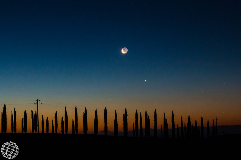 Mercury, Venus and Moon in Tuscany
