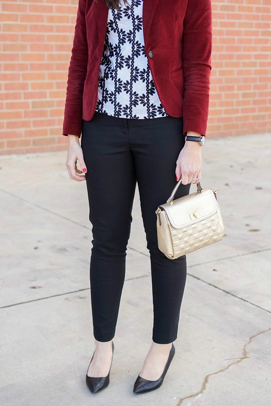maroon velvet blazer + black ankle pants + gold crossbody purse + black Target heels + J.Crew Factory embroidered tee