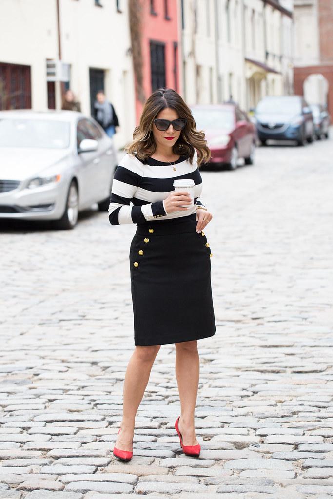 Black and white stripes_Ann Taylor Skirt_1