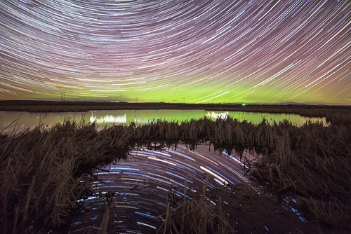 Star Trail and Aurora Reflections
