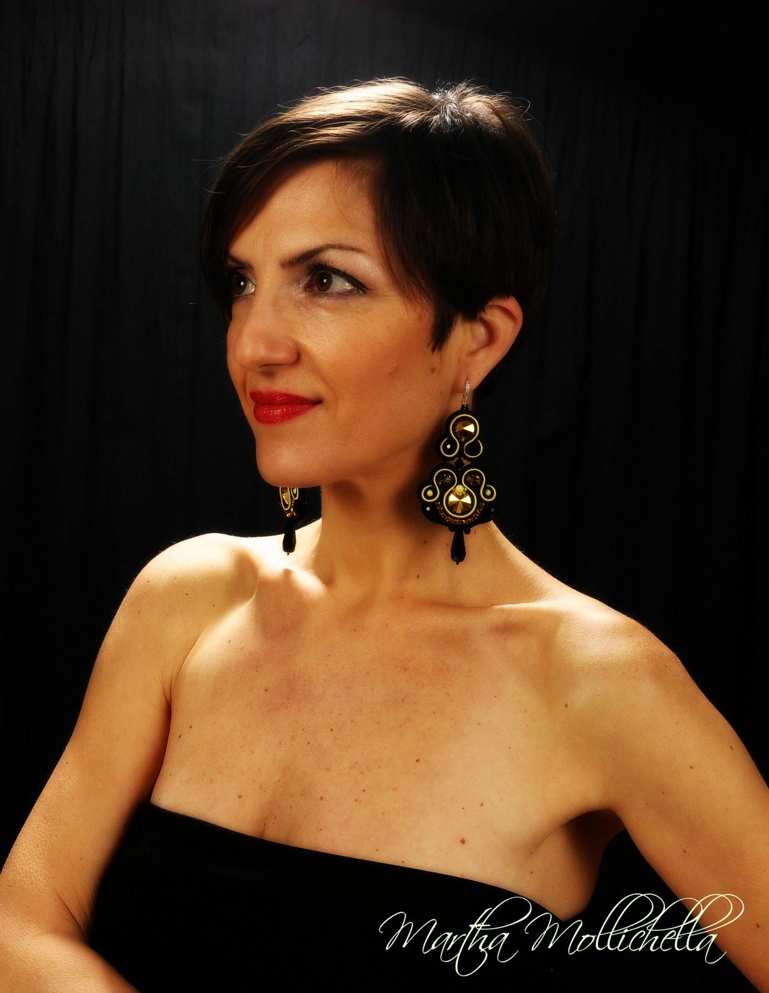 soutache earrings with swarovski crystal handmade in Italy by Martha Mollichella