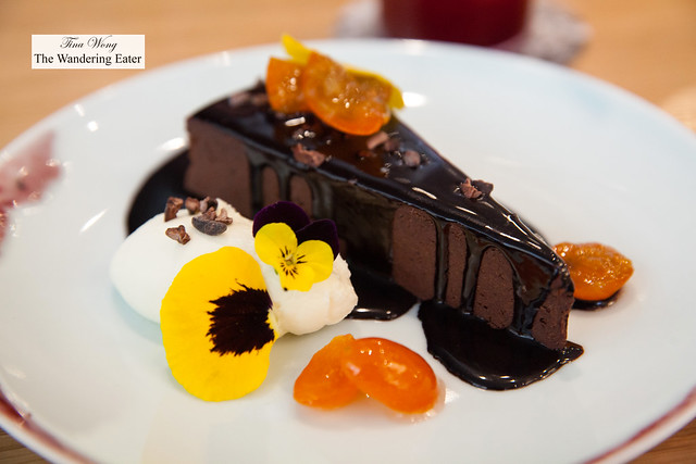 Hot fudge truffle cake, candied kumquats