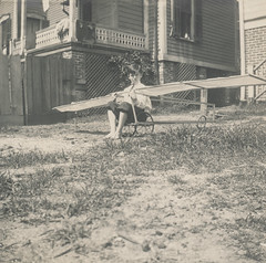 Little boy with a toy airplane