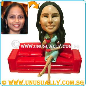 Custom 3D Female Excutive Having Tea Break Figurine - © www.unusually.com.sg