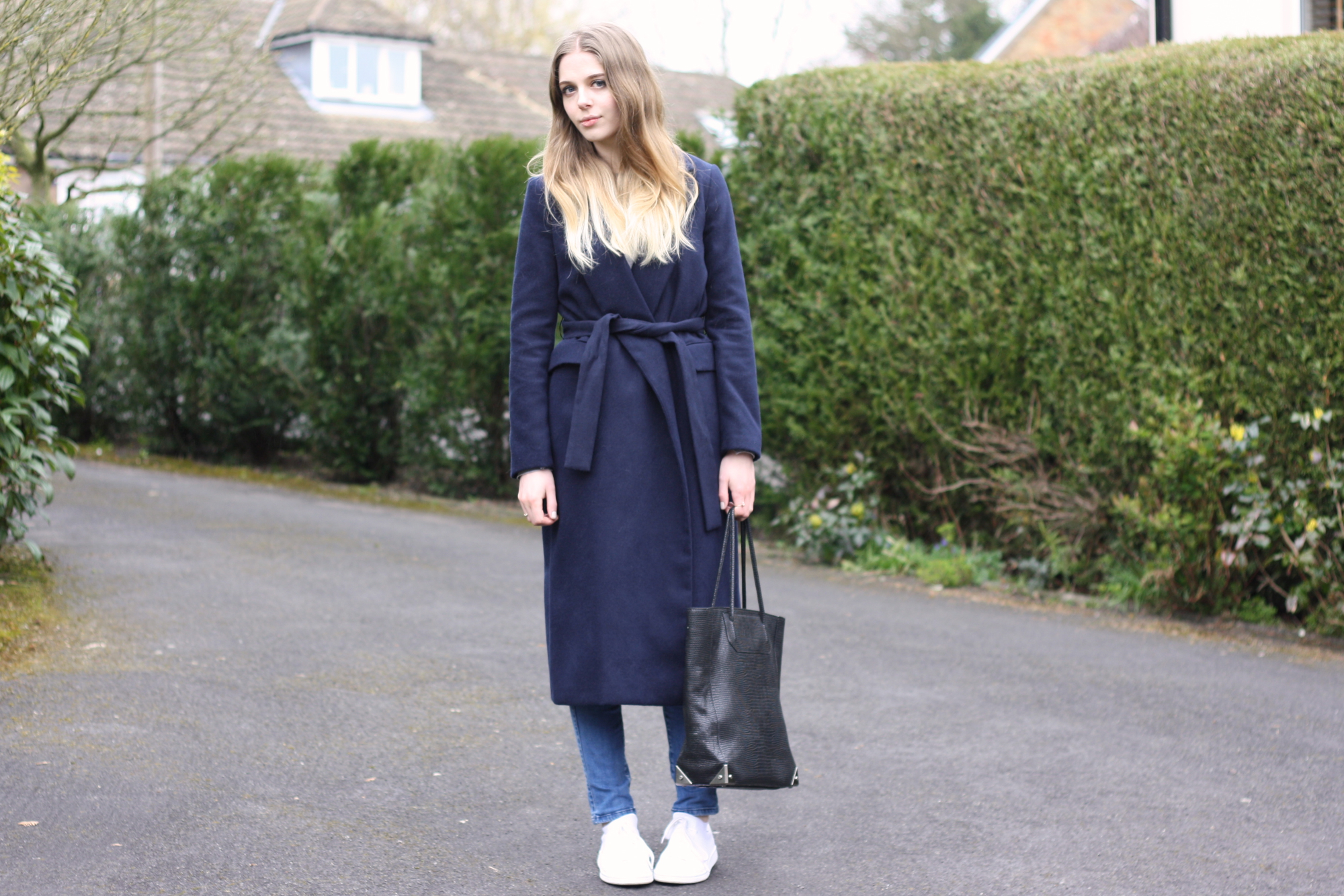 Topshop long navy coat