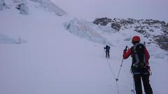 Podejście odowcem Vadret Pers na Piz Palu 3900m - Albert i Piotr szukają przejscia przez labirynt seraków.