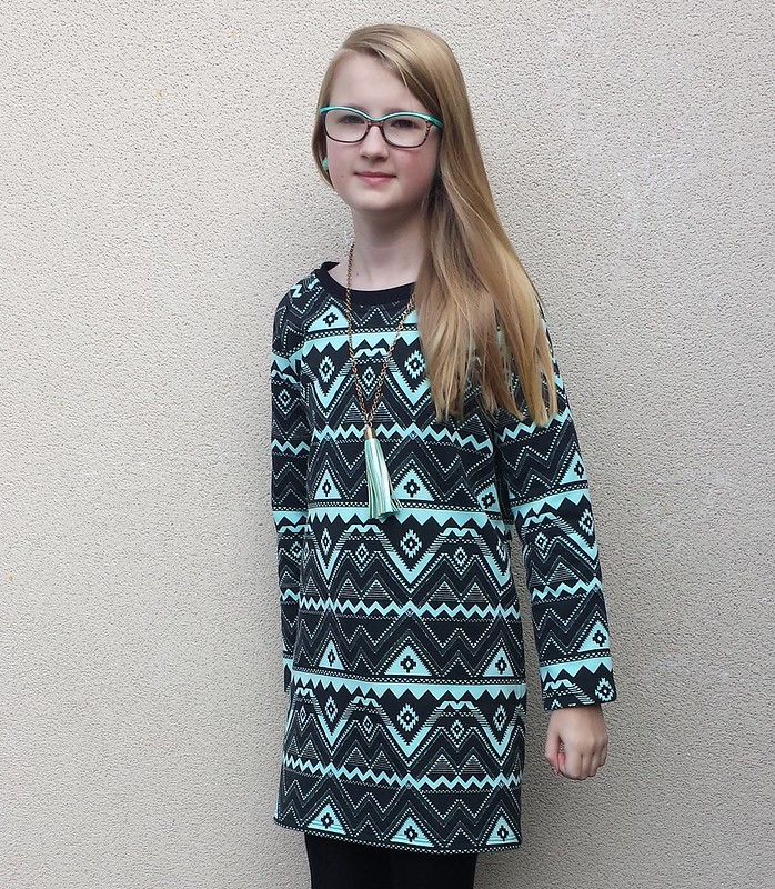 BurdaStyle dress 144 10/2014 in fleecy backed sweatshirt knit from Darn Cheap Fabrics