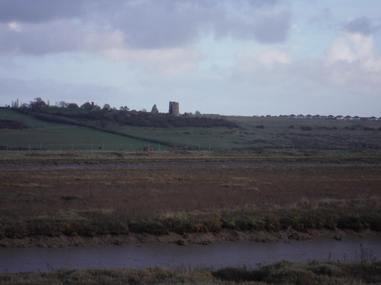 Hadleigh Castle across Benfleet Creek, from Canvey Island SWC Walk 258 Benfleet Circular (via Canvey Island)