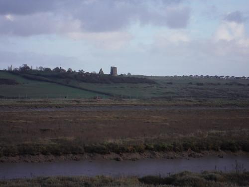 Hadleigh Castle across Benfleet Creek, from Canvey Island