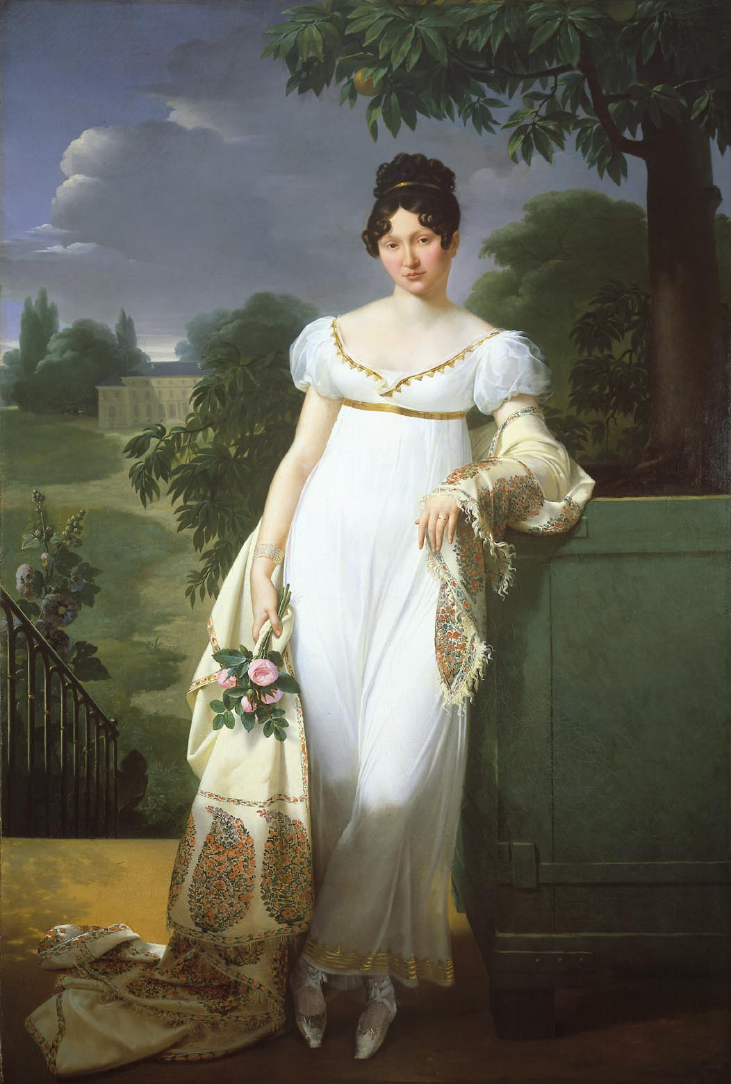 French lady in 1808. The style was often accompanied by a shawl or similar wrap, or a short 'Spencer' jacket, as the dresses were light and left much uncovered.