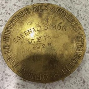 1929 French Foreign Office medal to Simon Eskenazi