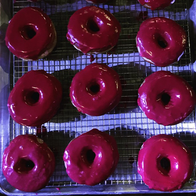 Beet glazed donuts with ricotta filling #donutfestnyc