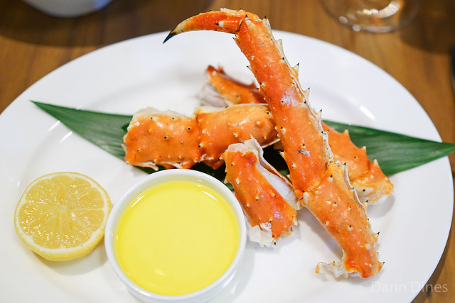Steamed Alaskan King Crab served hot with drawn butter