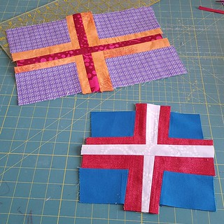 Double Cross blocks,  untrimmed to give Allison room to wonkify even more if the feeling good strikes. #dogoodstitches #charitysewing